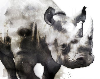 """Rhino Watercolor Painting, 8X10"""" and 11X14"""" Instant Download, Ptintable, Animal Painting, Animal Art, Animal Print"""