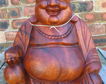 Wooden Happy BUDDHA STATUE Figure 30 cm CHINESE Laughing Sitting Hand Carved A