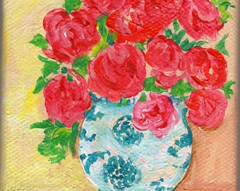 Roses mini painting, Blue and white vase original painting on canvas,  Easel, small floral art, acrylic painting, floral rose painting