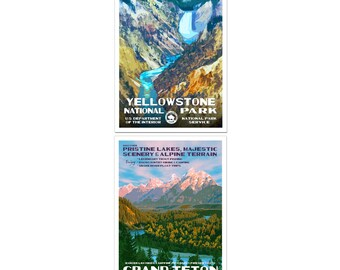 National Parks of Wyoming - 2 Poster Set with  -  Yellowstone National Park & Grand Teton National Park, Signed by the Artist.