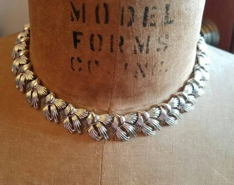 Vintage Coro Silver Tone Metal Hinged Necklace Choker Singed