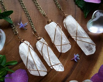 Danburite necklace, Danburite, crystal necklace, pink danburite, wire wrapped, crystal