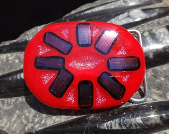 Cherry Red Fused Glass Belt Buckle with Dichroic Glass Design/ Abstract Art Recycled Glass Belt Buckle