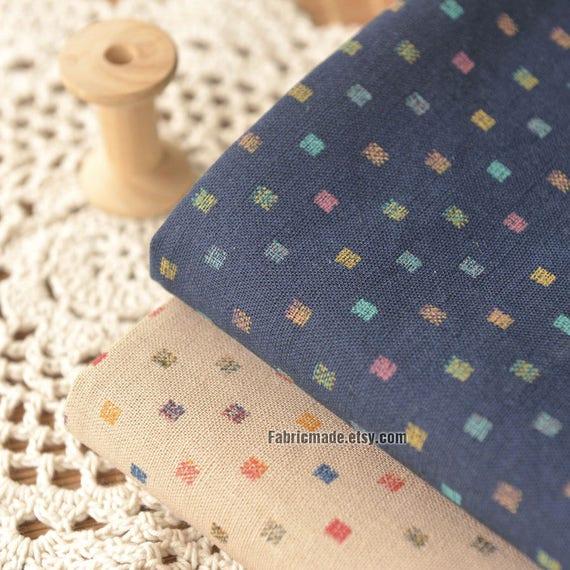 Chic Blue Beige Cotton Linen Plaid Curtains For Boys Bedroom: Tiny Plaid Linen Fabric Beige Navy Blue Linen Cotton With