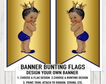 Blue Gold Prince Baby Shower Banner Bunting Flags Ethnic Prince Baby Shower