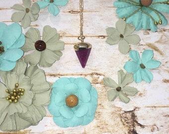 Plum Purple Crystal Stone Necklace