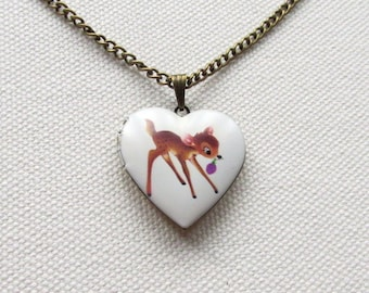 Bambi Locket White Heart Shape Locket Cute Deer Fawn Necklace Animal Jewelry