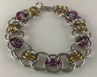 Sale 25% off Purple Yellow and Silver Helm Chain Chainmaille Bracelet