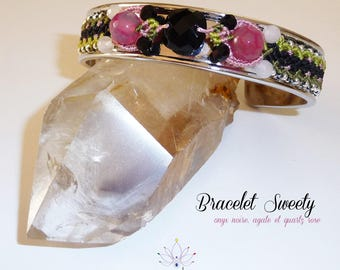 "Bracelet ""onyx, rose quartz and agate"" Sweety - jewelry water lily fine macrame"