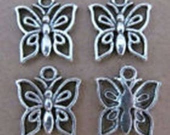 10 1.5 x 1 cm silver plated Butterfly charms