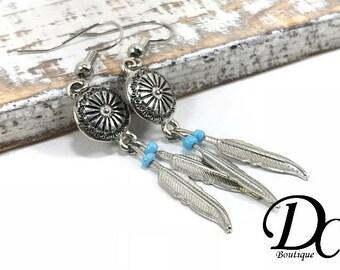 Silver Feather Earrings, Southwestern Earrings, Blue and Silver Feather Earrings, Native Boho Style, Tribal Earrings, Silver Dangle Earrings