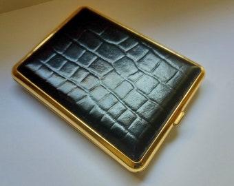 Vintage brown empossed leather oval Cigarette case