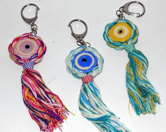 Ceramic Evil Eye Keychain Charm with Multicolor Cord - Gift Wrap. Greek charms. Many Colors