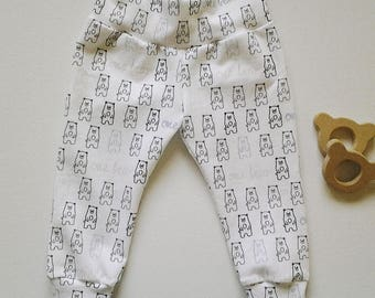 Baby Toddler Leggings, Yoga Waistband, Bear Print - Size 3-24 months