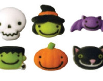 "12pk Frightful Friends  2/3"" - 1 1/4"" Edible Cake Cupcake Sugar Decorations"