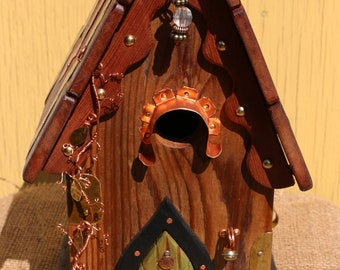 Hand made copper and brass artistic bird house - 4006