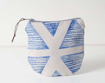 Blue zipper pouch, Block printed printed pouch, Coin holder