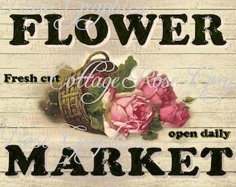 Flower Market LARGE format digital image download vintage country prim pink roses Buy 3 Get one Free