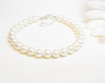6.5mm Adult Real Pearl Bracelet - Freshwater Pearl Bracelet - White or Ivory Round Pearl Bracelet - Classic Pearl Bracelet