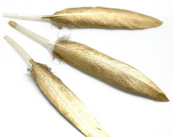10pcs Gold Color Goose Feather 10-15cm / 4-6 inches Feathers Hair Feathers Craft Supplies Wholesale Feathers YM474