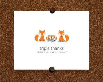 Fox Baby Triplet Thank You Cards. Triplet Baby Shower Thank You Cards. Triplet Thank Yous. Personalized Stationery (Set of 10)
