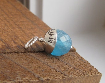 Limited Edition-SOMETHING BLUE- Custom Handstamped wedding bridal bouquet charm- Fits Large Hole Charm bracelet Perfect for Beach Wedding