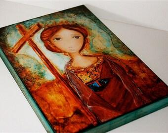 St.-Helena - Giclée-Druck auf Holz (4 x 5 inch) Volkskunst von FLOR LARIOS