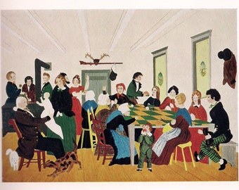 Vintage Folk Art Print - The Quilting Party - Art Print  - Charming American art