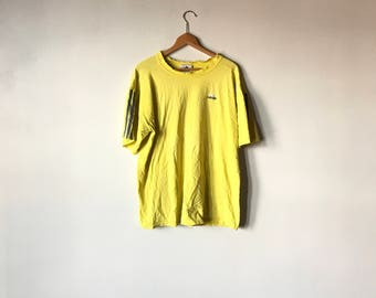 DISTRESSED ADIDAS TEE // 90s // Large // Adidas Shirt // Adidas T-Shirt // 90s Adidas // Adidas Shirt // Yellow Adidas Shirt // Distressed