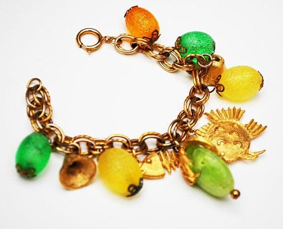 Cha cha Bracelet - colorful Tutti Frutti - gold fish -yellow orange green lucite - plastic -  gold bell  -  dangle Bangle