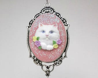 White Cat Cameo Necklace -gift for her, mother's day, easter, sister, girlfriend, birthday