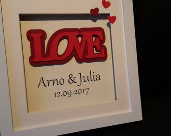 personalized wedding gift, picture frames, writing love