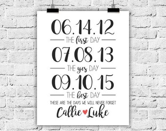 First Day Yes Day Best Day, 8x10, Special Dates, Art Print, Wedding Gift, Engagement Gift, Gallery Wall