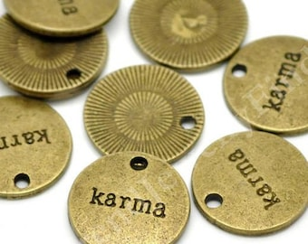 BULK - Antique Bronze Karma Charms  - Engraved Message Charms Tags  - Lot of 15 pcs - MC0645