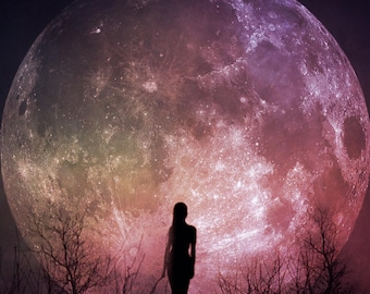 full moon fine art photo, goddess woman silhouette photography, purple pink home decor bedroom wall spiritual surreal sky feminine celestial