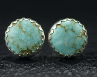 Number 8 Mine Turquoise and Sterling Silver Stud Earrings