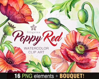 POPPY watercolor Clip Art. Wild rustic red flowers, green leaves, nature decor, design elements, floral painting, bouquet. Read about usage