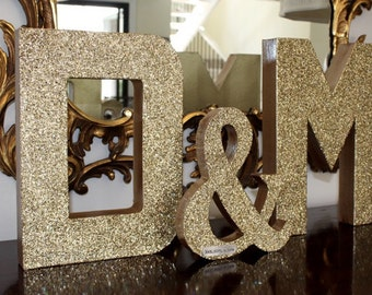 Glitter Wedding Letter Set -Large- with Ampersand, Wedding Decor - Initials - Custom - Personalized