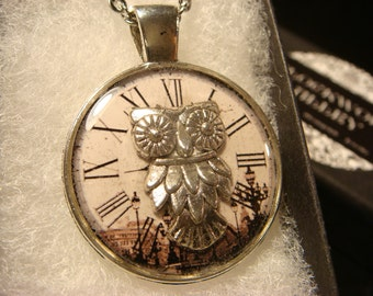 Silver Owl over Clock Face  Pendant Necklace (2017)