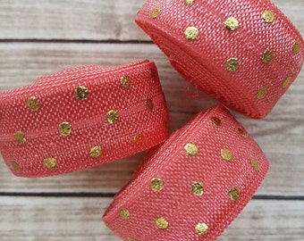 5/8 WATERMELON with Gold Foil Polka Dot Fold Over Elastic