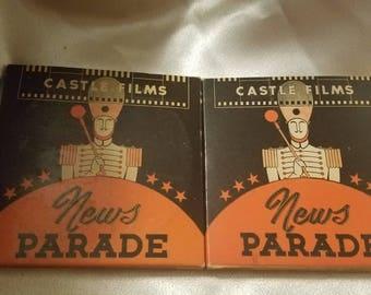 Lot of 4 Vintage Castle Films News Parade Complete Edition 8 MM Millimeter Films in Original Boxes World War II News Reels Okinawa Tokyo