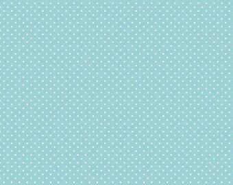 Aqua Polka Dot Fabric - Riley Blake Swiss Dots - Aqua Polka Dot Quilt Fabric By The 1/2 Yard