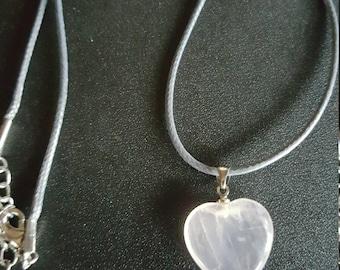 Quartz Heart shaped pendant on a grey cord
