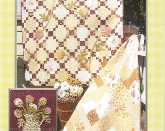 Fig Tree Quilts - Plum Blossoms - Pieced Quilt - Patchwork Throw - Wallhanging - Sewing Pattern