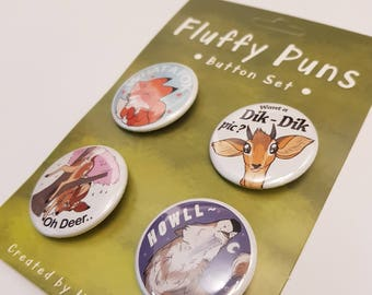 Button Set // Badge Set // Cute Animals // Funny // Unique // Original Artwork // Illustration // Art // Pin Back // Fox // Dik Dik // Wolf