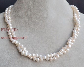twist necklace,  pearl necklace, 16inches 2 row 6-6.5mm ivory freshwater pearl necklace, pearl jewelery, bride necklace,bridesmaids gift