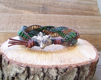 Pewter Fox Beaded Braided Leather Wrap Cuff Bracelet, Beaded Leather Cuff, Fox Bracelet, Fox Jewelry, Leather Jewelry, Rustic Cuff