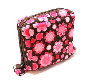 Essential Oil Roller Bottle Case Pink Flowers on Brown