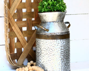 Milk Can-Galvanized-You Pick Color-Metal container-Milk Container-Farmhouse-Rustic-Cottage-Centerpiece-floral container-Galvanized Can