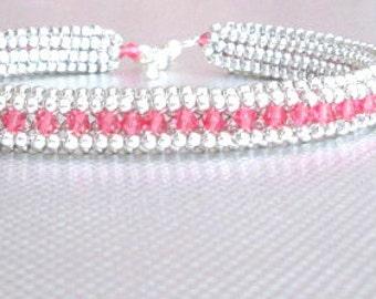swarovski crystal bracelet pink beaded jewelry sterling silver bead bangle pink crystals seed bead bracelet